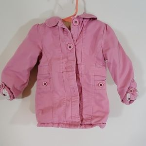 Oshkosh b'gosh hooded pea coat jacket pink